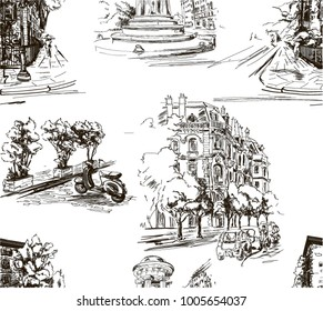 Pattern with city streets with houses, cars,scooters and trees in black and white on white background in toile de jouy stile