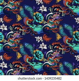 Pattern of cobra and gramophone. Suitable for fabric, wrapping paper and the like. Vector illustration