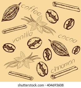 pattern of coffee beans, cocoa beans, pods and flowers of vanilla, cinnamon sticks and inscriptions, vanilla, coffee, coca and cinnamon. The retro style