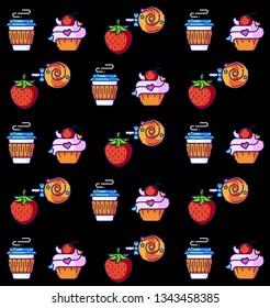 Pattern coffee, cupcake, strawberry, candy. Tasty