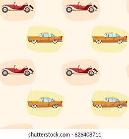 Pattern with color retro car for boy's. Vector seamless pattern with cartoon classic auto on neutral background. Pattern for boys