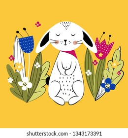 Pattern. Colorful and cute rabbits beween spring or summer flowers. Vector illustartion