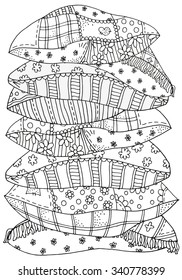 Pattern for coloring book. A4 size. Set of different pillows. Artistically patterns. Hand-drawn, retro, doodle, vector, zentangle tribal design elements. Hand-drawn vector illustration.