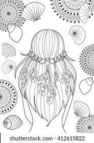 The pattern for coloring book for adults, A4 size. Girl with feathers on her hair and shells. Modern linear art. Vector.