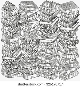 Pattern for coloring book. Artistic books, bookshelf,  hand-drawn decorative elements in vector. Black and white pattern.  Made by trace from sketch. Zentangle.