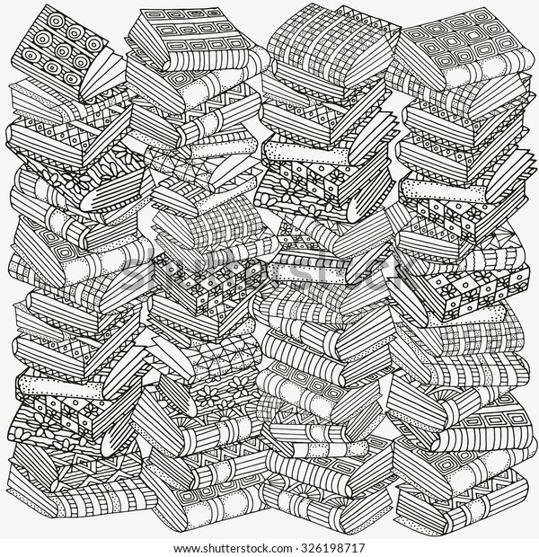 Pattern Coloring Book Artistic Books Bookshelf Stock Vector ...