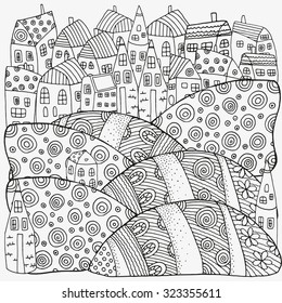 Pattern for coloring book with artistically houses. Magic City, fields, landscape. Made by trace from sketch. Ink pen. Zentangle. Black and white pattern in vector.