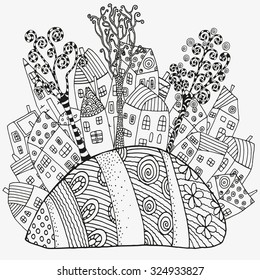 Pattern for coloring book with artistically houses. Magic City, fields, trees, landscape. Made by trace from sketch. Ink pen. Zentangle. Black and white pattern in vector.
