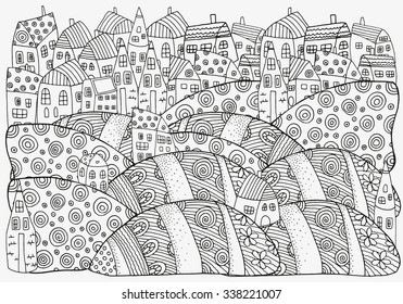 Pattern for coloring book with artistically houses. A4 size. Magic City, fields, landscape.  Made by trace from sketch. Ink pen. Zentangle. Black and white pattern in vector.