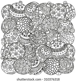 Pattern for coloring book. Christmas hand-drawn decorative elements in vector. Fancy Christmas balls, stars. Pattern for coloring book. Black and white pattern.  Made by trace from sketch. Zentangle