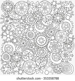 Pattern for coloring book. Christmas hand-drawn decorative elements in vector. Fancy winter Christmas snowflakes. Black and white pattern.  Made by trace from sketch. Zentangle