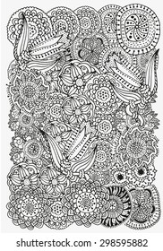 Pattern for coloring book.  Ethnic, floral, retro, doodle, vector, tribal design element. Black and white  background. zentangle