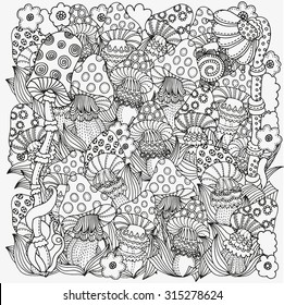 Pattern for coloring book in vector. Fantasy fairy mushrooms in the magic forest.  Mushrooms, flowers. Black and white pattern. Made by trace from sketch. Zentangle.