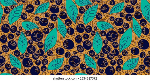 Pattern concept berries acai vector line. hand drawing, funny doodles on a yellow background.