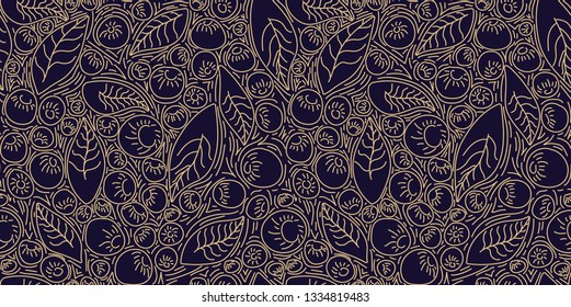 Pattern concept berries acai vector line. hand drawing, funny doodles on a dark background.