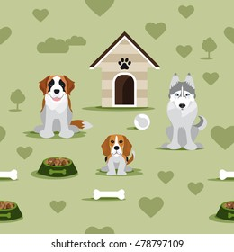 Pattern containing three dogs
