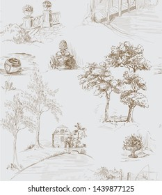 Pattern with country side views with old bridges, houses and trees and garden in toile de jouy style, brown on grey background