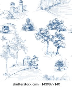 Pattern with country side views with old bridges, houses and trees and garden in toile de jouy style, blue on white background