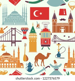 Pattern with country Turkey culture and traditional symbols. Seamless background wiht icons mosque and tower, hookah, tea, musical instruments, weapons