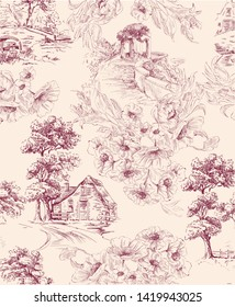 Pattern with countryside houses and arbor with flower bouquet in toile de jouy style in beige and red colour