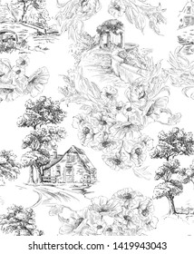 Pattern with countryside houses and arbor with flower bouquet in toile de jouy style in black and white colour