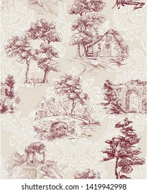 Pattern with countryside scenes with trees, bower, house in toile de jouy style in red and beige colour