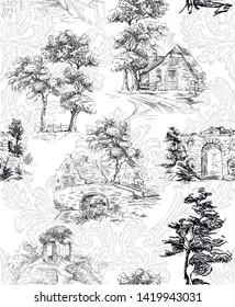 Pattern with countryside scenes with trees, bower, house in toile de jouy style in black and white colour