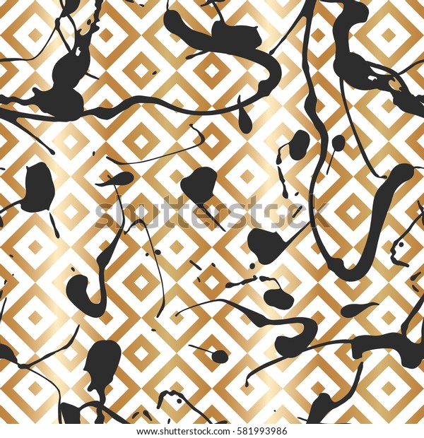 Pattern with creative geometric texture. Vector illustration of spray paint on white background. Ink smudges. Gold and black colors.