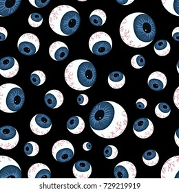 pattern with creepy eyeballs, texture of human eyeballs isolated on black background