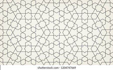 Pattern with crossing lines and geometric shapes. Seamless linear swatch. Stylish fractal texture. Abstract Arabic background. Islamic lattice.