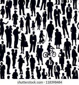 Pattern - crowd of people walking on a street.