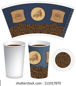 pattern cup of coffee with the texture of denim
