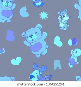 pattern of cute animals, stuffed toys, hearts and stars. Teddy bear hare and dog. Vector illustration