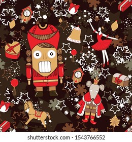 pattern with Cute cartoon character nutcracker, Mouse King, Old clock, Ballerina characters Sugar plum fairy with magic wand