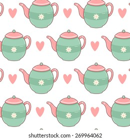 pattern with cute cartoon teapot with hearts on white background. can be used like pattern for wrapping paper, textile, notebook covers, greeting cards and birthday invitations