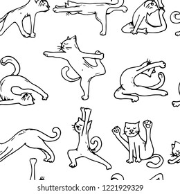 pattern of cute cats do yoga