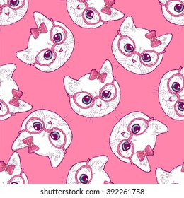 Pattern with cute cats. Kittens have rose-colored glasses. The charming kittens.