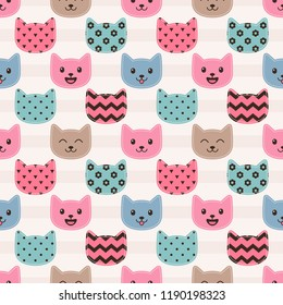 Pattern with cute colorful cat faces