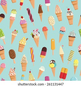 Pattern with cute colorful ice cream. For textiles, cards, decorations, wallpaper