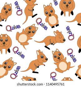 pattern with cute quokka animal australia. vector illustration. Cute cartoon