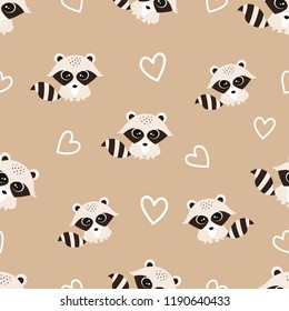 pattern with cute raccoons and hearts, background with funny animals, Valentine greeting card