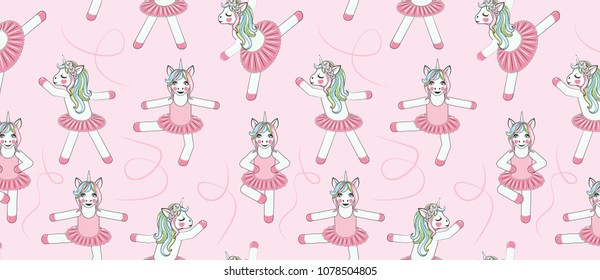 PATTERN WITH Cute Unicorn ballerina. Can be used for baby t-shirt print, fashion print design, kids wear, baby shower celebration greeting and invitation card