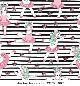 PATTERN WITH Cute Unicorn ballerina on black lines. Can be used for baby t-shirt print, fashion print design, kids wear, baby shower celebration greeting and invitation card