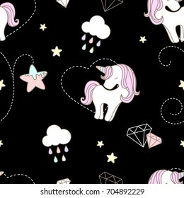 Pattern cute unicorn and star floral in black background.