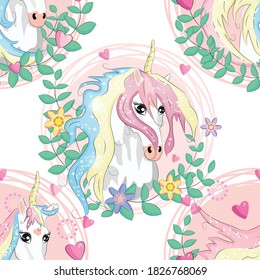 pattern with cute unicorns, clouds,rainbow and stars. Magic background with little unicorns.
