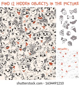 Pattern of Dalmatian puppies. Find 12 hidden objects in the picture. Puzzle Hidden Items. Funny cartoon character. Vector illustration