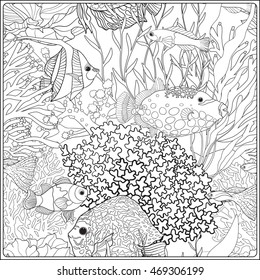 Pattern with decorative corals and sea or aquarium fish. Vector illustration. Coloring book for adult and older children. Outline drawing coloring page.