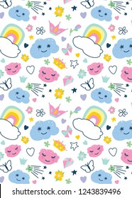 pattern with decorative elements rainbow, clouds, butterfly,stars,crown,diamond, hearts, bow,flowers