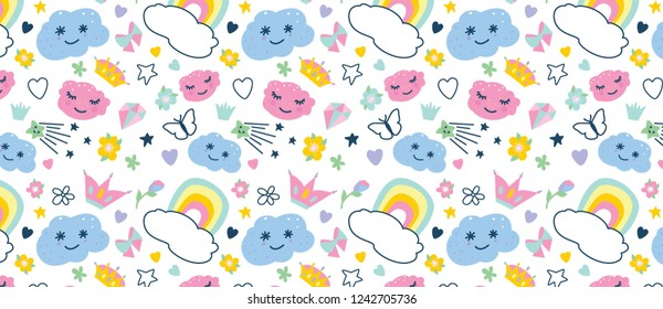 pattern with decorative elements rainbow, donut,  clouds, cupcake, butterfly,stars,crown,diamond, hearts, bow,flowers