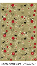 Pattern with deer and hearts